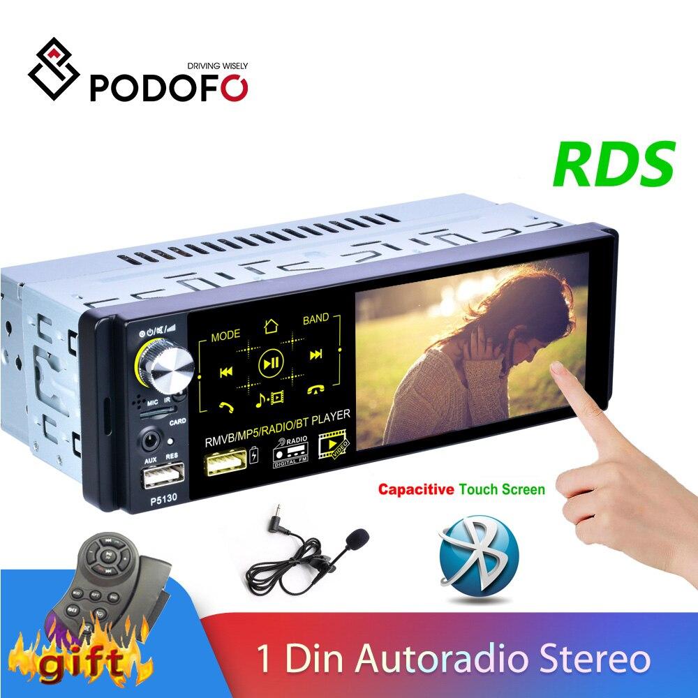 Podofo 1 Din Car Radio Autoradio Stereo Audio RDS Microphone 4.1 inch MP5 Video Player USB MP3 TF ISO In-dash Multimedia Player